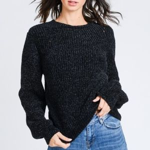 Sweaters - Black Chenille Long Sleeves Crew neck Knit Sweater